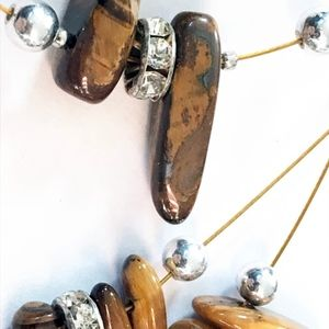 Jewelry - Copper, silver, brown bead necklace